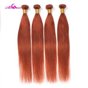 Image 4 - Ali Coco brésilien cheveux raides armure paquets Orange gingembre 100% cheveux humains paquets 1/3 pièces 8 30 pouces Non Remy Extensions de cheveux