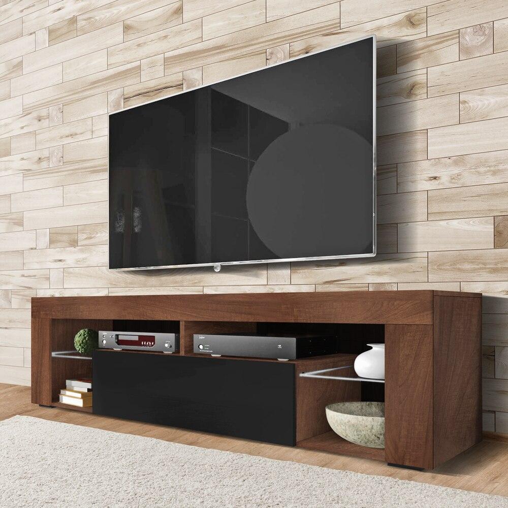 SELSEY BIANKO - meuble TV (140 cm, noix/noir brillant - sans LED)
