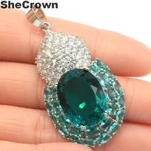 53x26mm Classic Long Big Rich Blue Aquamarine CZ Ladies Party Silver Pendant(China)