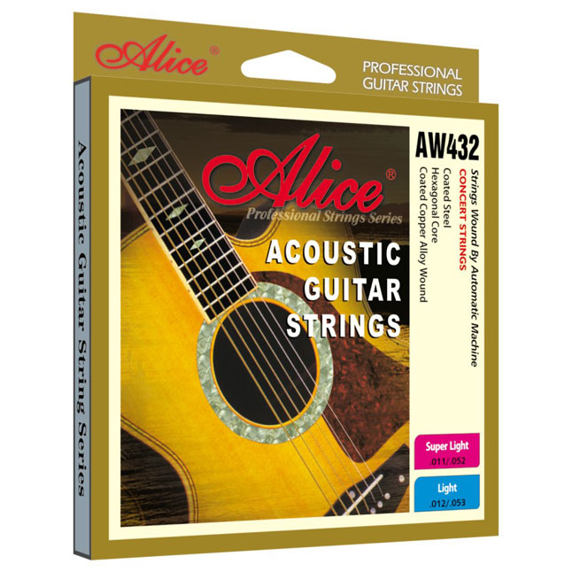 Aw432p-sl Strings For Acoustic Guitar, Color Tips, 11-52, Alice