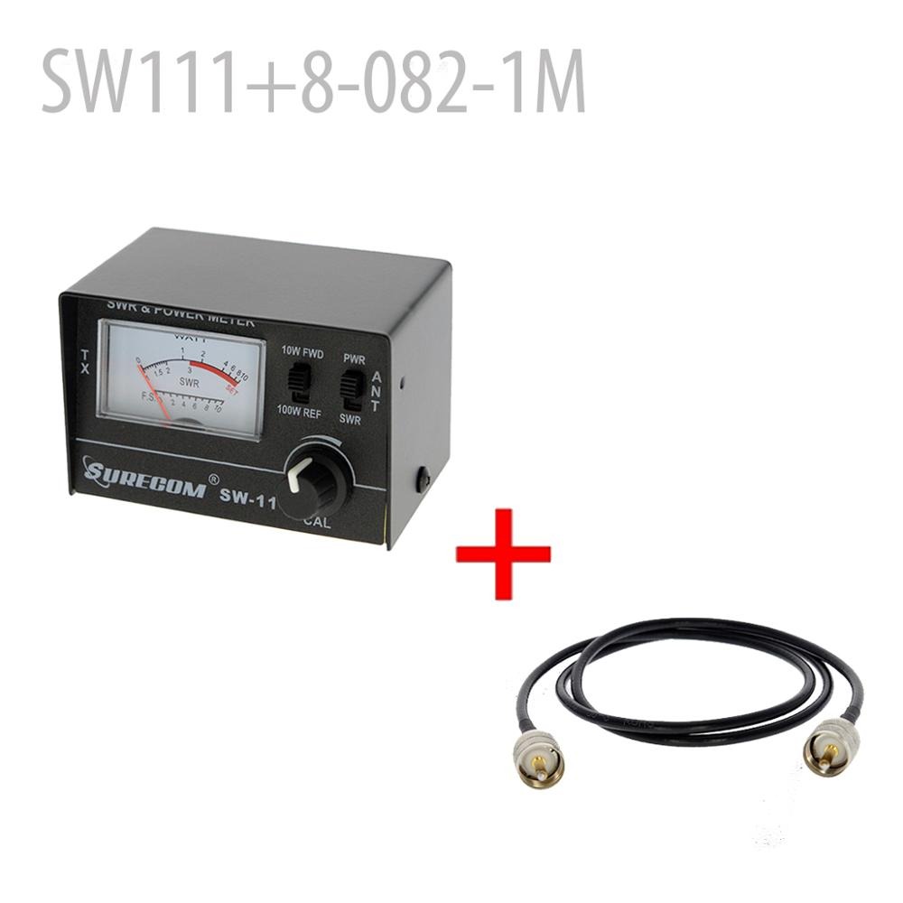 SURECOM SW-111 100 Watt SWR / POWER Meter + Adaptor Cable 100CM PL259 Male To PL259 Male (126701)