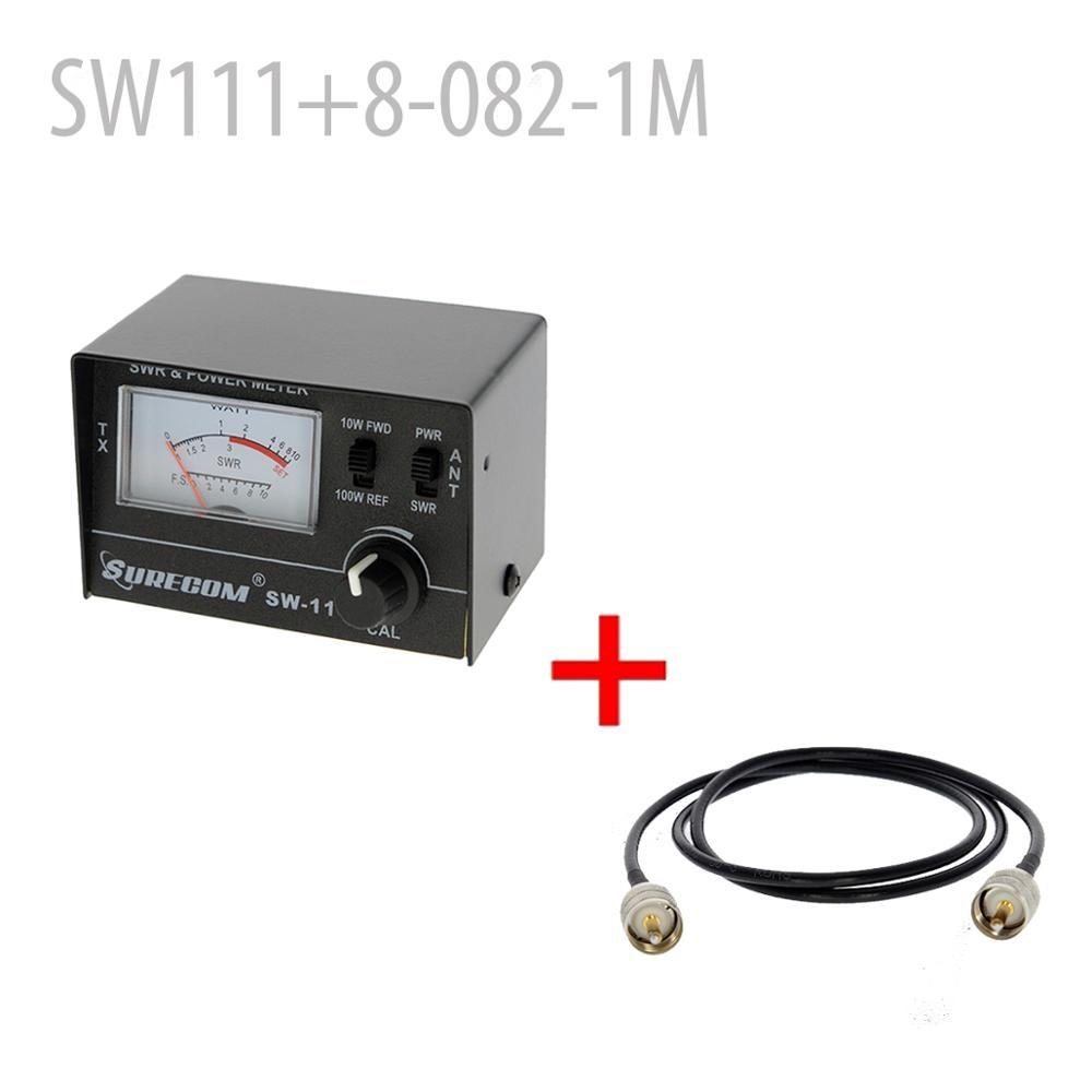 SURECOM SW-111 100 Watt SWR / POWER Meter + Adaptor Cable 100CM PL259 Male To PL259 Male (126701)