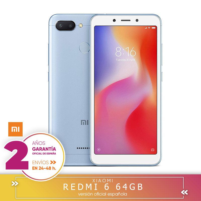 [Official Spanish Version Warranty] Redmi 6 EU Memoria Smartphone, 3 hard GB RAM, 64 hard GB ROM, IPS LCD 13, 8 cm (5,45 Inch)