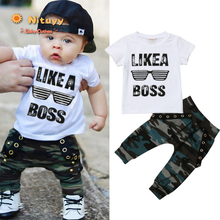 Baby Boys Clothes 2020 Hip Hop Short Sleeve Summer Toddler Infant Like A Boss Letter Tops T-shirt Camo Pants Outfits 2Pcs