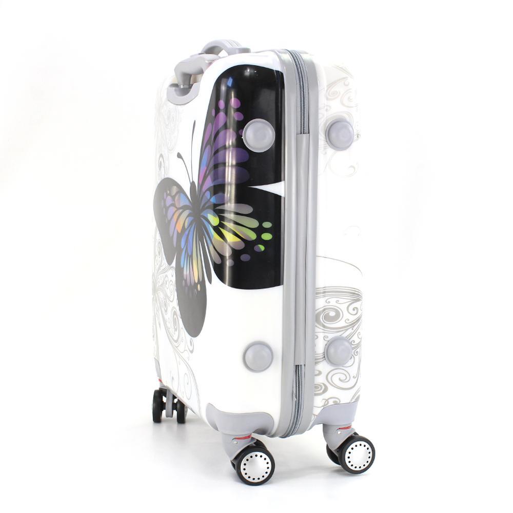 Valise cabine estampillée papillons 55cm rigide avec sac cosmétique - 2