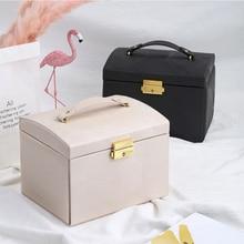 цена Women Jewelry Leather Storage Box 2019 Jewelry Display Box Durable Light weight with Mirror  Multi-Functional Makeup Accessories онлайн в 2017 году
