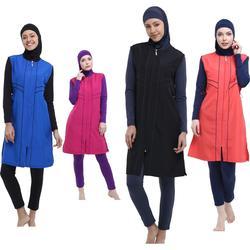 Argisa 7106 Micro Sleeves Piping Hijab Swimwear S-XXL Muslim Hijab Islamic Swimsuit Swim Burkinis Full Cover
