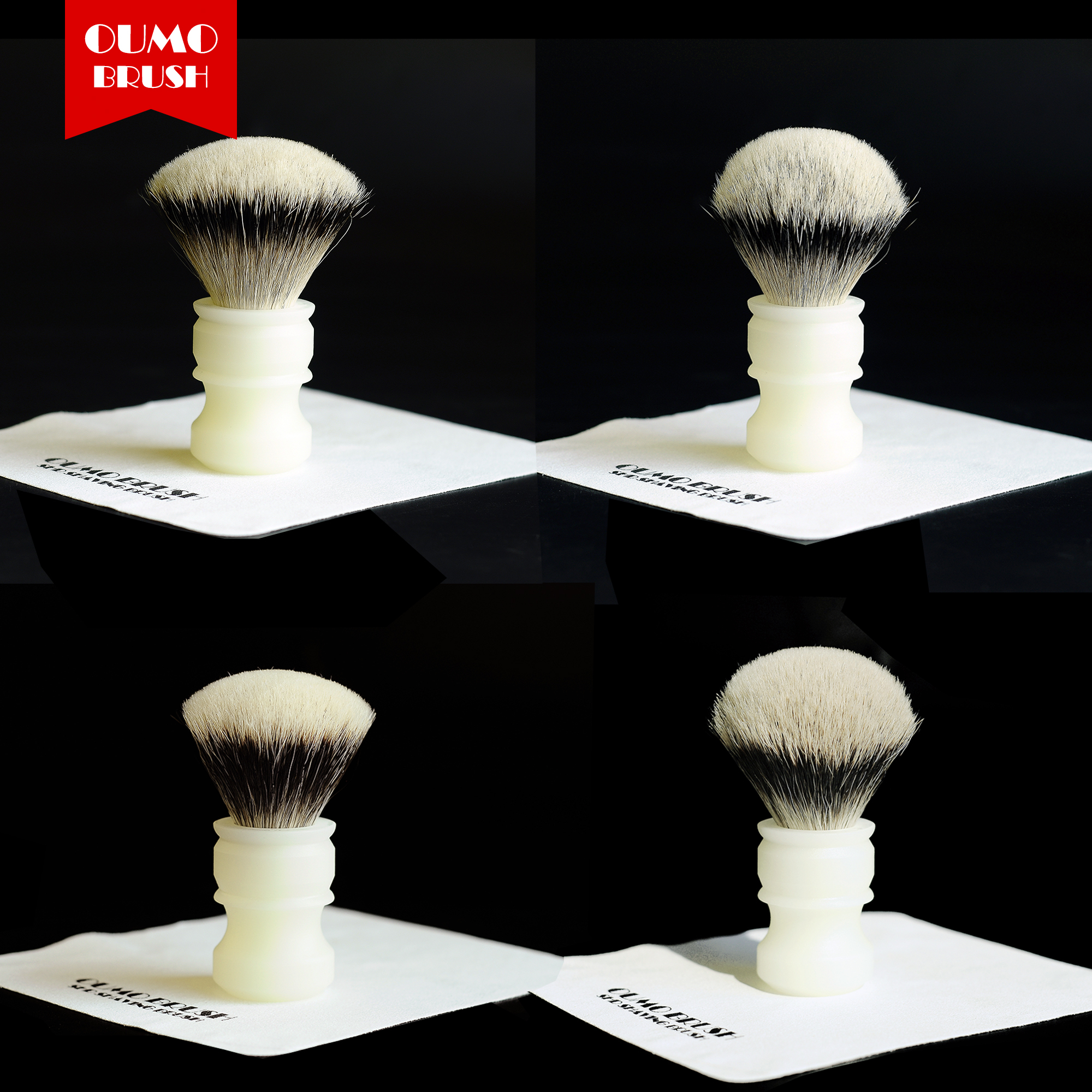 OUMO BRUSH-SHD HMW Silvertip&Manchuria Finest 2band&WT Finest Whit Classic White Frosted Resin Handle