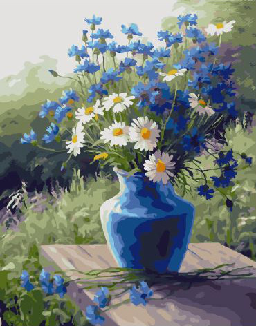 Picture By Numbers GX 32915 Blue Vase Cornflowers And Daisies 40*50
