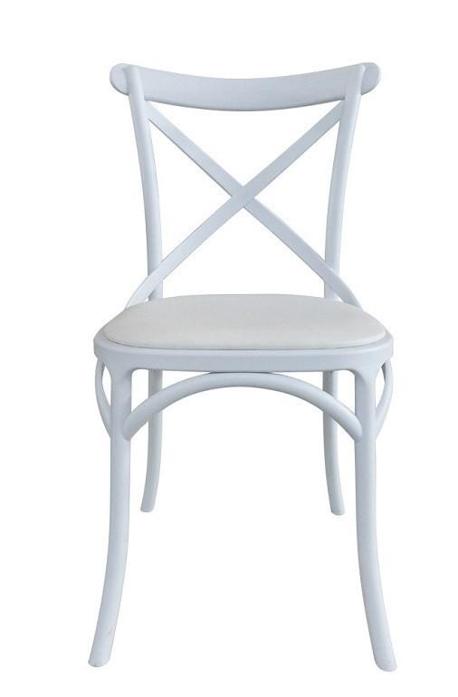 Chair CROSS, White Polypropylene, White Cushion