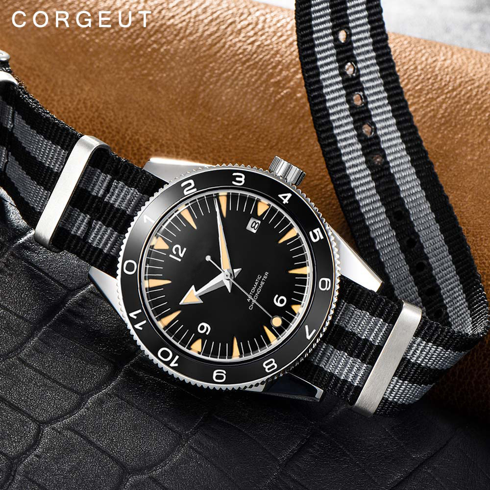 Corgeut 41mm Automatic Mechanical Watch Men Luxury Military 007 Clock Nylon Strap Luminous Waterproof Calendar Male WristWatch