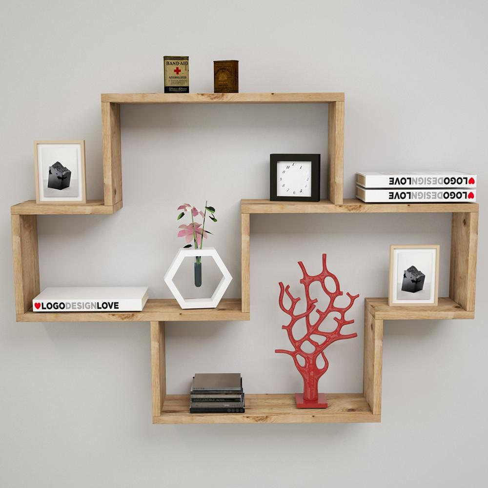 Shelf&Shelf MADE IN TURKEY Modern Bookshelf Decorative Living Room Wood Wall Book Holder Organizer Shelf Rack Bookcase