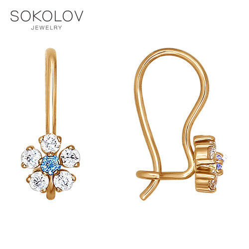 SOKOLOV Drop Earrings With Stones With Stones With Stones With Stones With Stones With Stones With Stones With Stones With Stones With Stones With Stones In Gold With Blue Cubic Zirconia Fashion Jewelry 585 Women's/men's, Male/female
