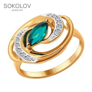 Gold plated ring with SOKOLOV Emerald fashion jewelry silver 925 women's male