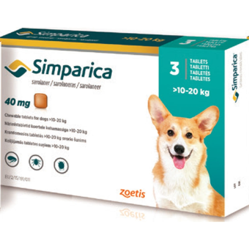 SIMPARICA TABLETS ZOETIS Sarolaner 10 -20 Kg. Indicated In The Infestaciones From Flea And Tick Treatment And Sarna