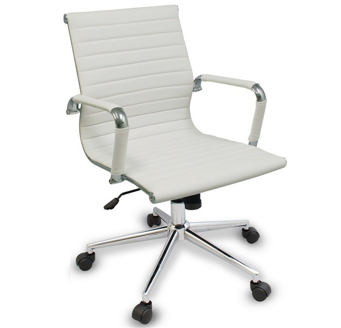 Office Armchair BUDAPEST, Rotatable, Gas, Tilt, Similpiel White