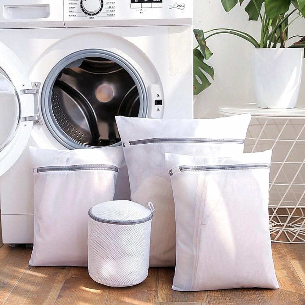 Сетчатые мешки для стирки на молнии, серые бытовые мешки для стиральной машины, для белья, бюстгальтеров, носков, грязной одежды, корзина для...