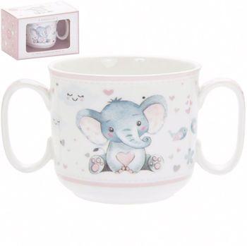 Mug with 2 handles for girl Ellie and bird 180 ml mug lefard 360 ml with pattern