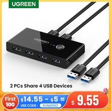 Ugreen USB Kvm-switch USB 3,0 2,0 Switcher Kvm-switch für Windows10 PC Tastatur Maus Drucker 2 PCs Sharing 4 geräte USB Schalter