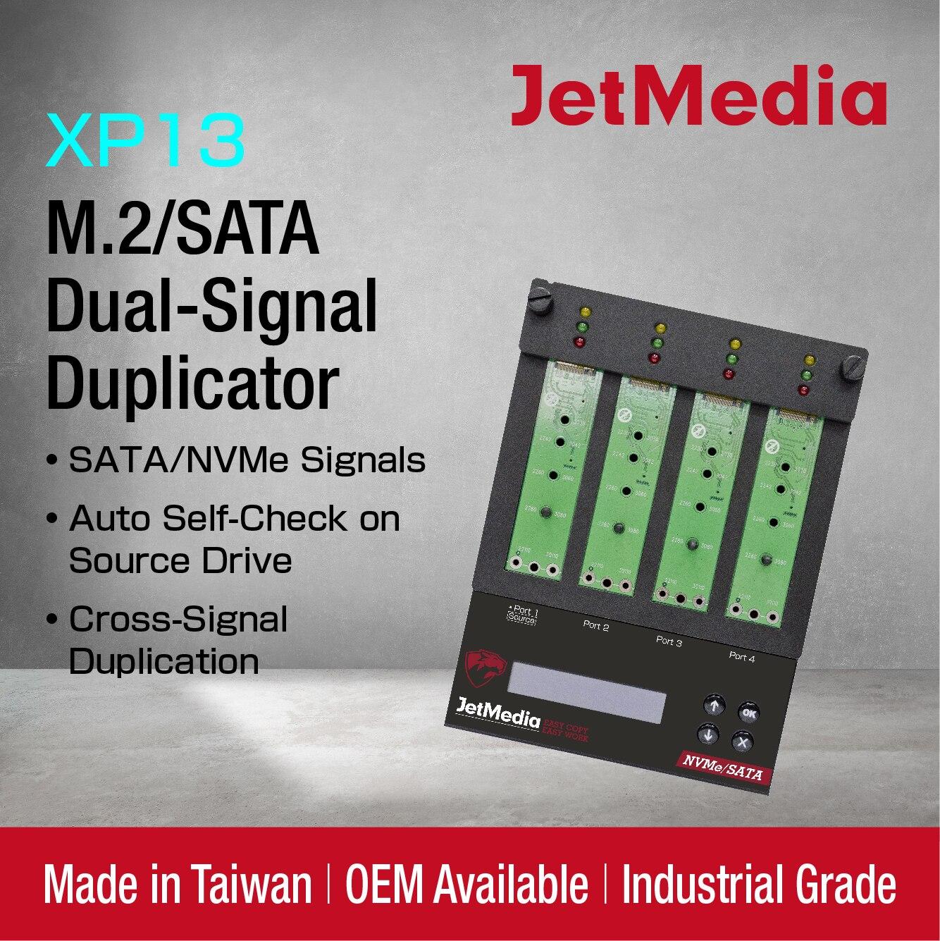 M2 NVMe SSD Duplicator JetMedia XP13 SATA NVMe Cross-Signal Duplication M2 SSD Copier