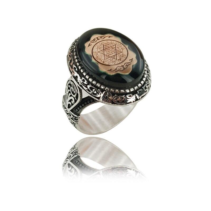 Sceau chaud Original de salomon nouveau Talisman spécial roi salomon anneau pour hommes islamique amulette anneau Khatam Suleiman Vintage bijoux