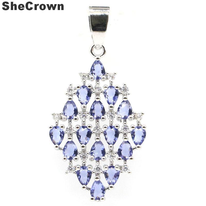 38x20mm Luxury Created New Stone Iolite White Cubic Zirconia Ladies Wedding Silver Pendant