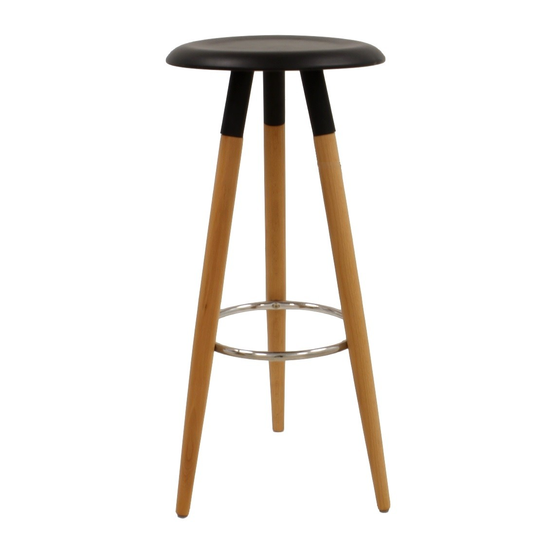 Stool OTILIO, Wood, Black Seat