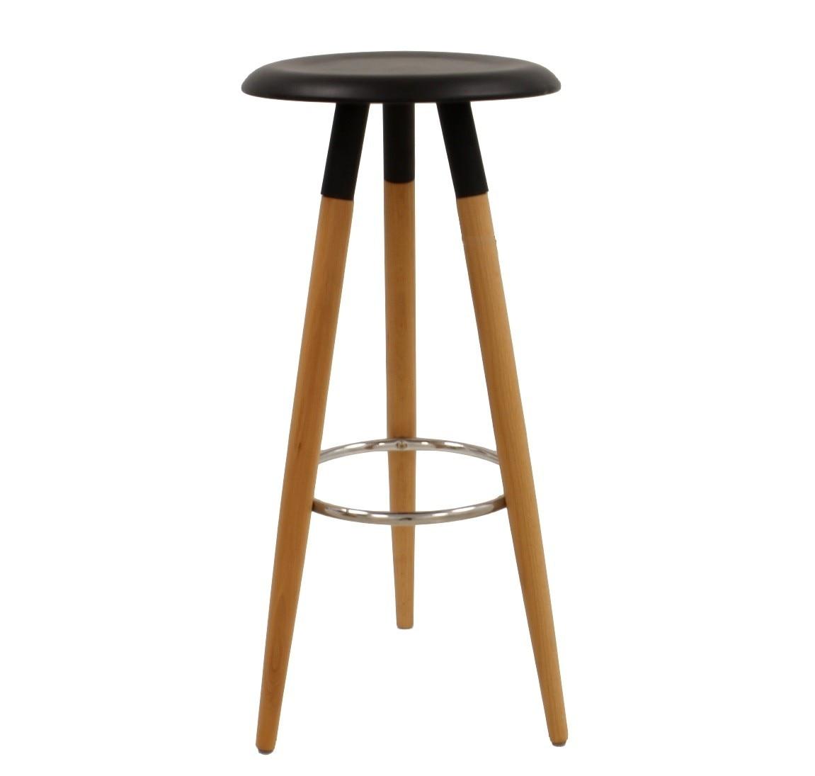 Stool OTILIO, Wood, Black Seat
