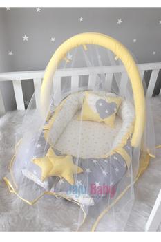 Jaju Baby Nest Yellow-Gray Design Mosquito Net And Toy Hanger Luxury Design Babynest