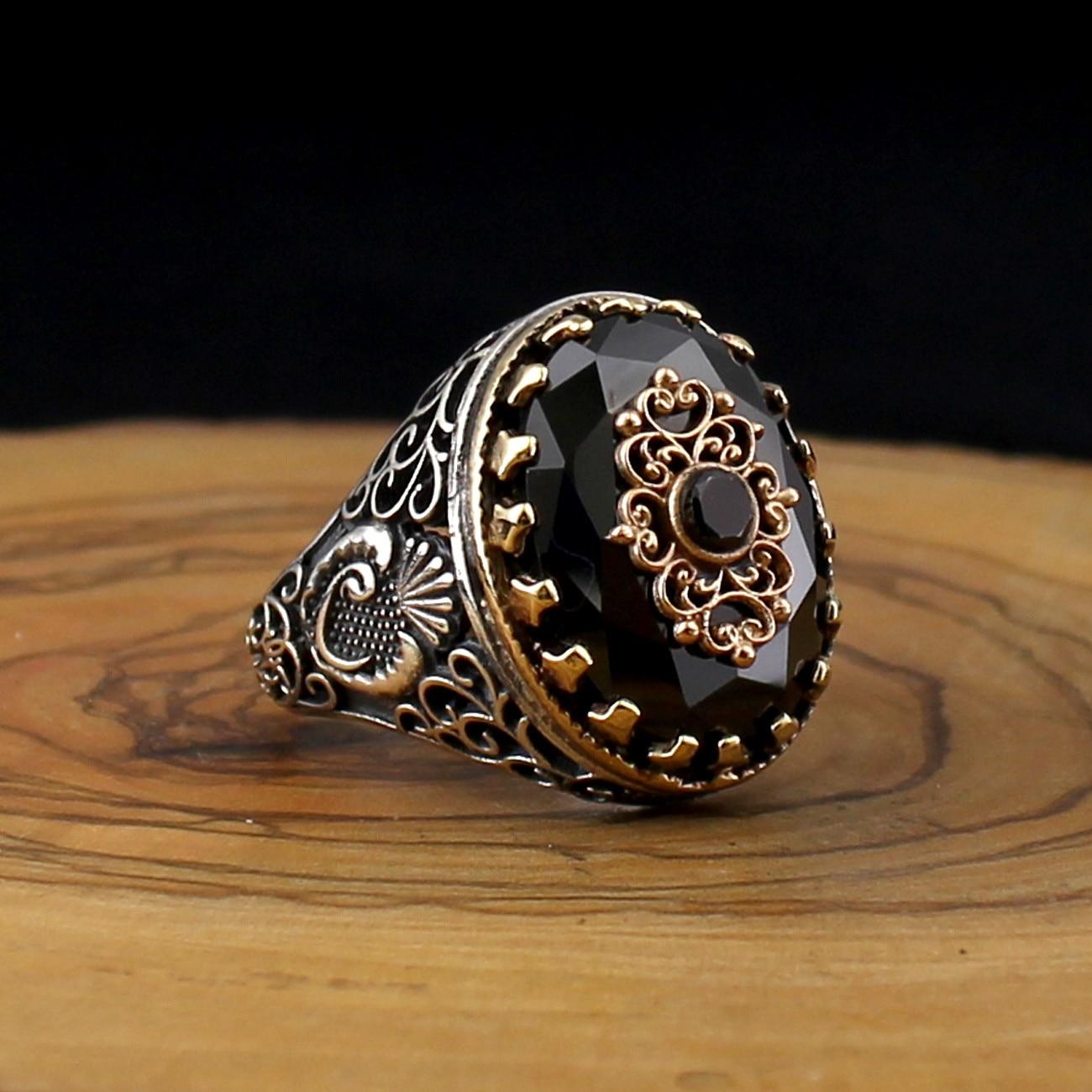 925 prata esterlina anel para homens preto zircão pedra jóias moda vintage presente onyx aqeq masculino anéis todo o tamanho (feito na turquia)