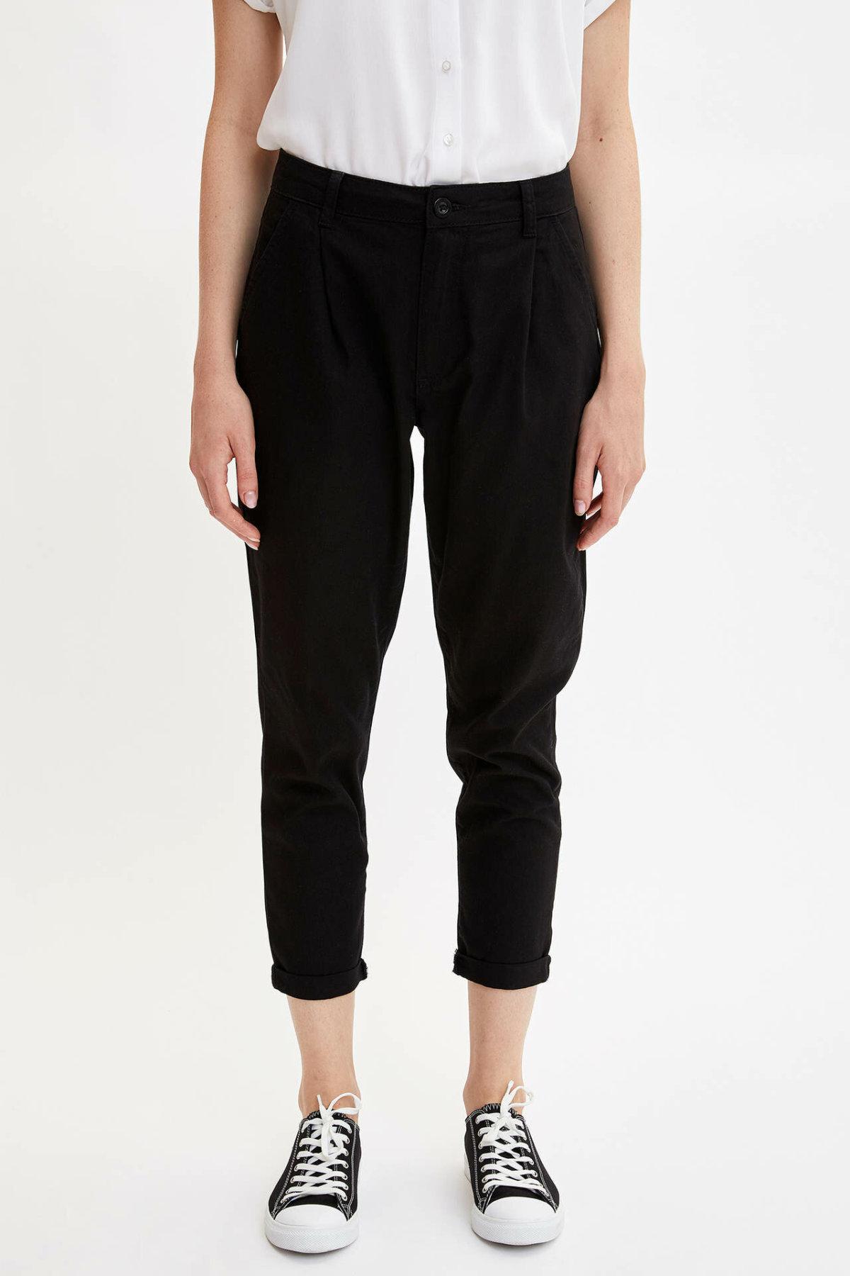 DeFacto Woman Summer Black Casual Ninth Pants Women Fashion Loose Bottoms Female Harem Pants Trousers-L6440AZ19SM
