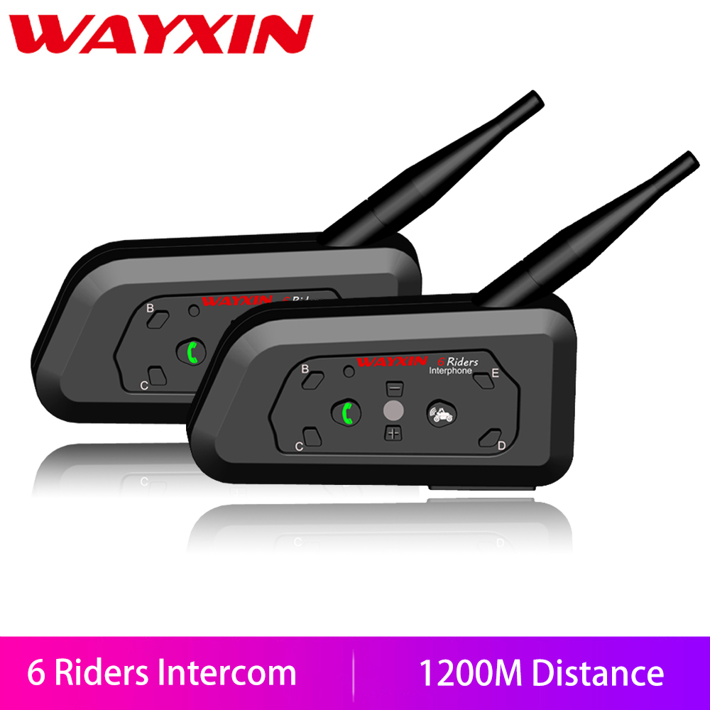 WAYXIN Motorcycle Bluetooth Intercom Headsets Waterproof 6-Riders 1200M Wireless R6 2pcs