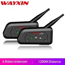 WAYXIN دراجة نارية خوذة دراجة بخارية مزودة بسماعات بلوتوث للهاتف المحمول 2 قطعة خوذة الاتصال الداخلي تصل 6 الدراجين 1200 متر اللاسلكية مقاوم للماء سماعات البيني R6