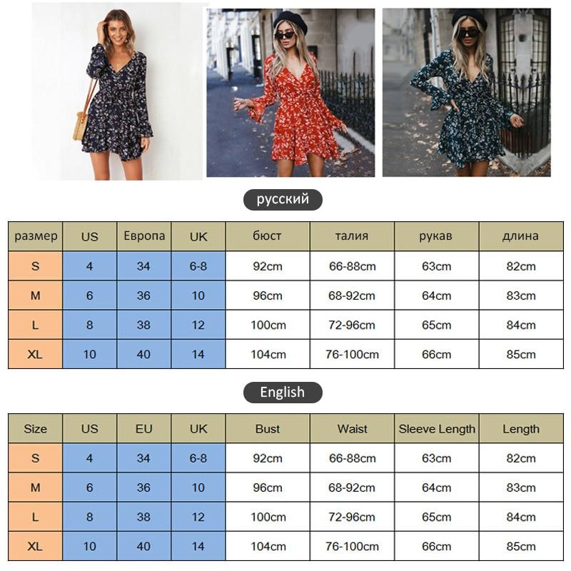 Women Autumn Long Sleeve Sexy Mini Dresses Flower Ladies Casual V-Neck Short Summer Dresses 2020 5