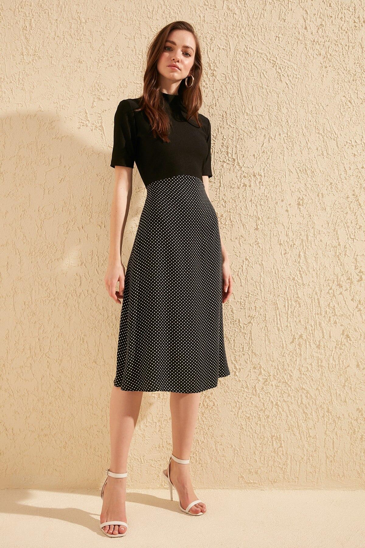 Trendyol Polka Dot Blocky Knit Dress TWOSS20EL0712