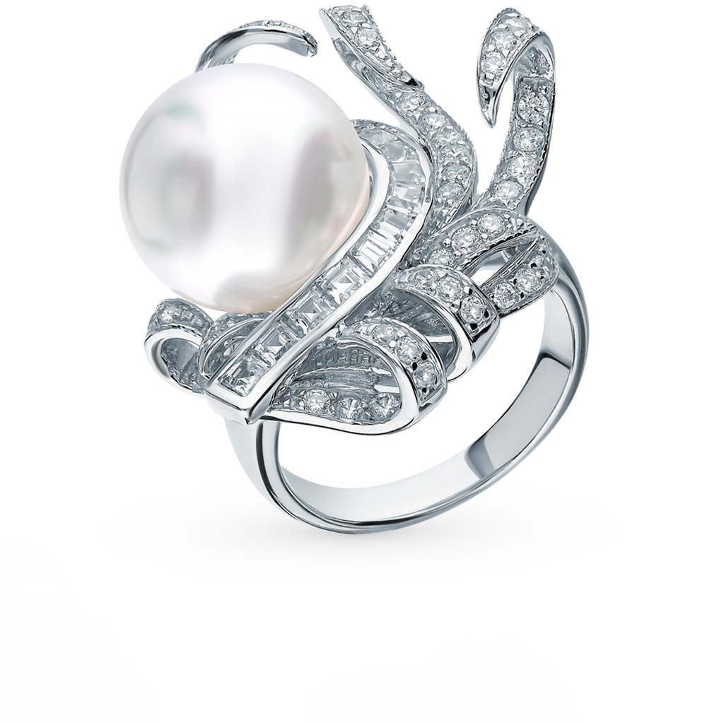 Silver Ring With Cubic Zirconia And Pearls Sunlight Sample 925