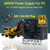 2600W Power Supply For PC 110V-220V ATX Mining Bitcoin 95% High Efficiency Support 8 Video Card GPU For BTC Miner