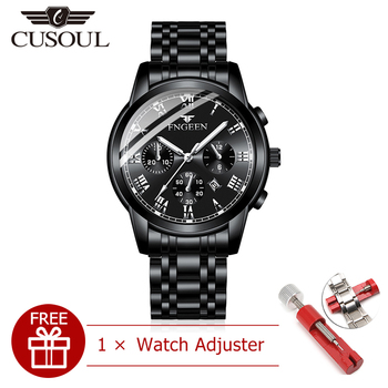 Cusoul Men Fashion Watch Quartz Watches Casual Wristwatches 30M Waterproof Watches Calendar Watches Stainless Steel Wrist Watch цена 2017