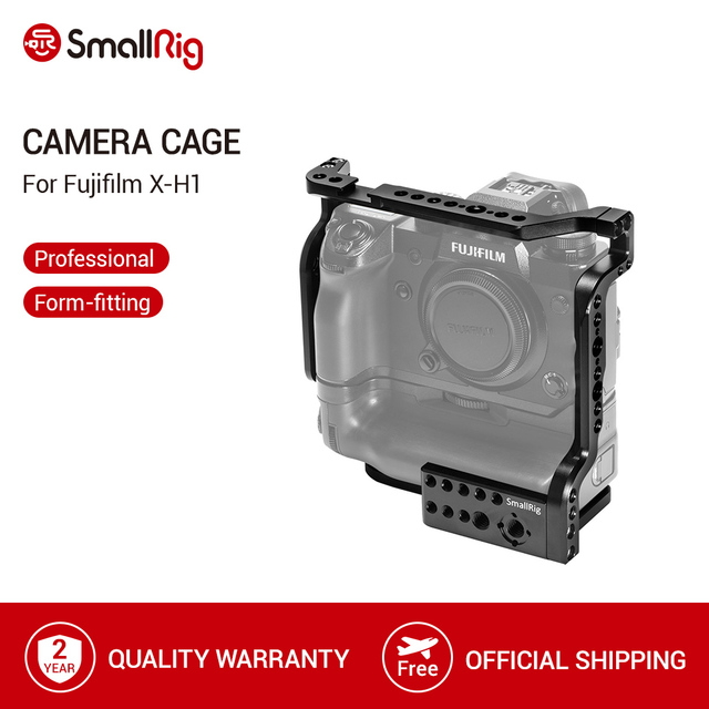 """Jaula SmallRig para cámara Fujifilm X H1 VPB XH1 con empuñadura de batería/rieles NATO integrados/Arri 3/8 """"puntos de localización 2124"""