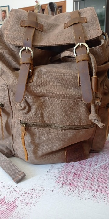 Men's Canvas Travel Drawstring Backpack photo review
