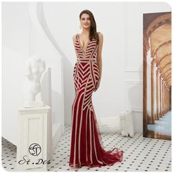 Nouveau 2020 St. Des sirène col en v vin russe Champagne perles sans manches concepteur étage longueur robe de soirée robe de soirée