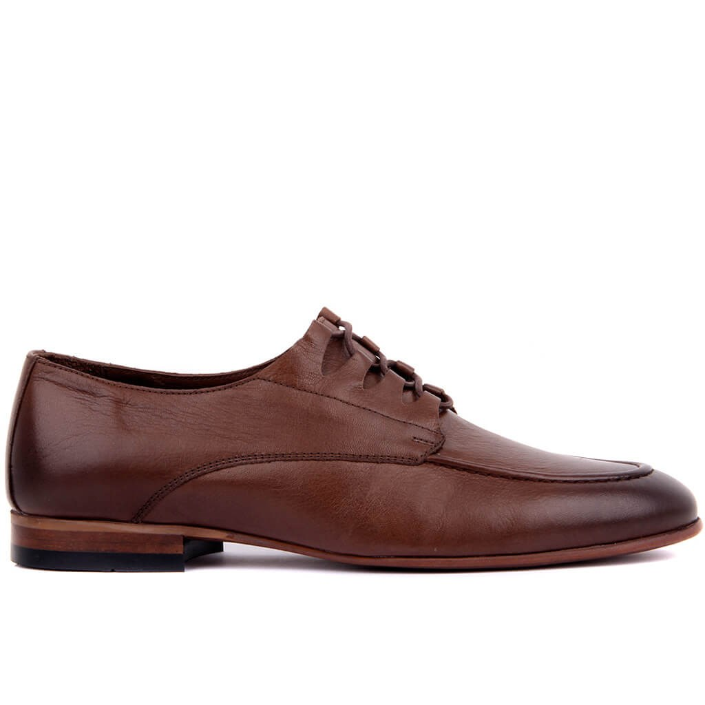 Sail Lakers-Brown Leather Lace-Up Men Casual Shoes