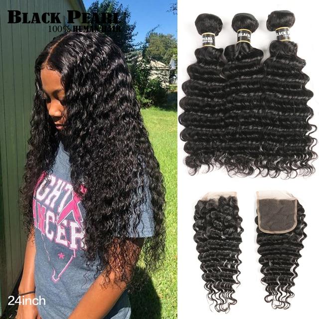 שחור פנינה עמוק גל חבילות עם סגירת רמי מלזי שיער 30 Inch חבילות עם סגירת 3 חבילות עם סגירת שיער טבעי