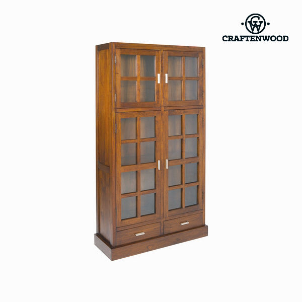 Display Cabinet With Double Glass Doors Craftenwood (100 X 180 X 37 Cm) Wood / Walnut - Nogal Collection