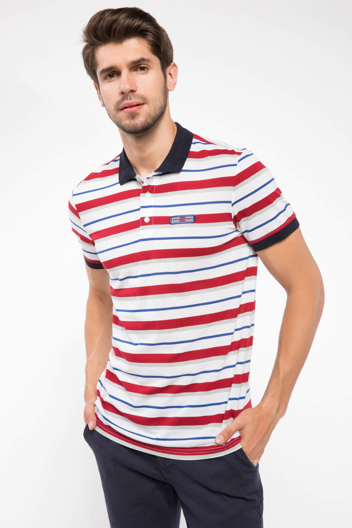 DeFacto Man Classic Striped Polo Shirt Men Casual Smart Short Sleeve POLO Shirts Summer Fit Slim Top Shirts-J1902AZ18AU