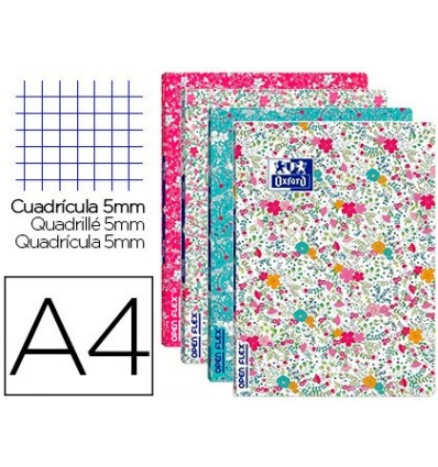 SCHOOL NOTEBOOK OXFORD OPENFLEX BENDABLE COVER OPTIK PAPER 48 SHEETS 90 DIN A4 FLORAL HORIZONTAL