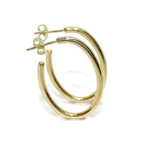 Never say Never Earrings's yellow gold hoop type 18K gold 2mm width 1.95g 18k