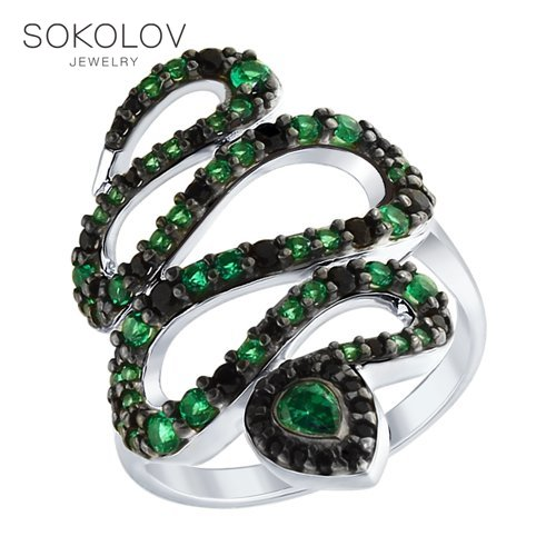 Ring Snake SOKOLOV Fashion Jewelry Silver 925 Women's Male