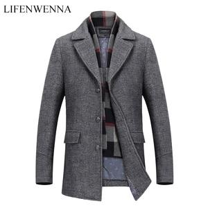 Image 1 - New Fashion Brand Mens Clothing Jacket Wool Coat Men Single Breasted Turn Down Collar Slim Fit Peacoat Long Winter Men Coat 4XL