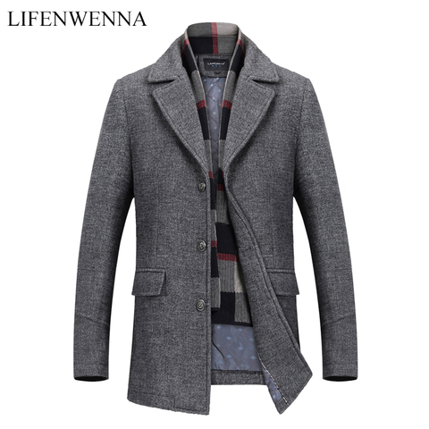 New Fashion Brand Mens Clothing Jacket Wool Coat Men Single Breasted Turn Down Collar Slim Fit Peacoat Long Winter Men Coat 4XL Pakistan